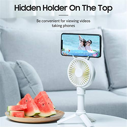 m·kvfa Handheld USB Fan Portable Rechargeable Adjustable Cooler Mini Fan Cooling Fan Mobile Phone Holder for Outdoor Travel (2000Ahm, White)