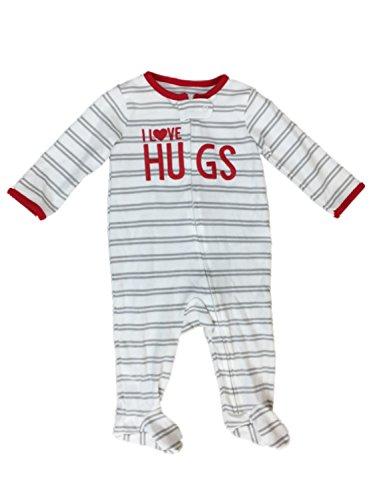 Carter's Infant Boys I Love Hugs Valentines Day Sleeper Gray Stripe Pajamas NB