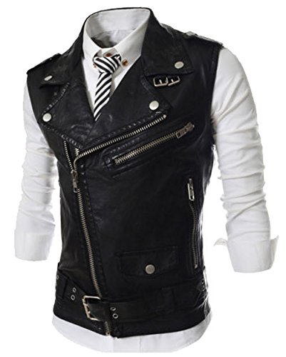 Aishang Men's Oblique Zipper Belt Decoration Sleeveless Leather Biker Bomber Jacket ()