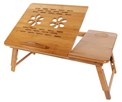 Folding Portable Bamboo Sturdy Laptop Desk Table Tray with Cup Holder 21.5 x 13.75 x 11 Inches