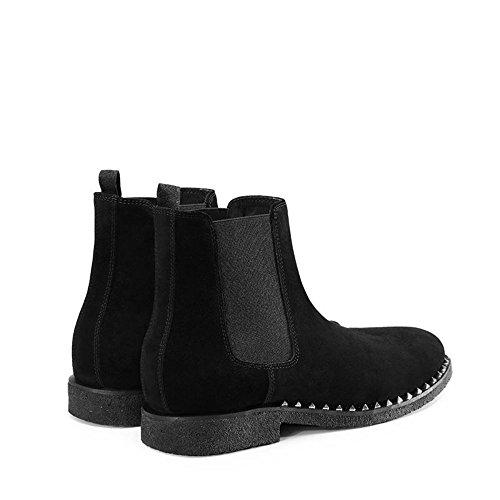 Jinfu Chelsea Laarzen Mens Klinknagel Zwart Suede Casual Laarzen Enkellaarzen Formele Schoenen
