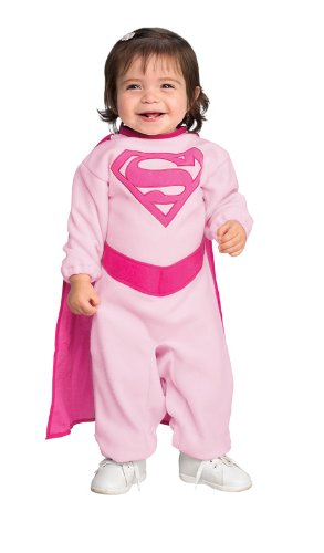 Superman Romper With Removable Cape Pink Supergirl, Pink Print, Newborn (Supergirl Halloween)