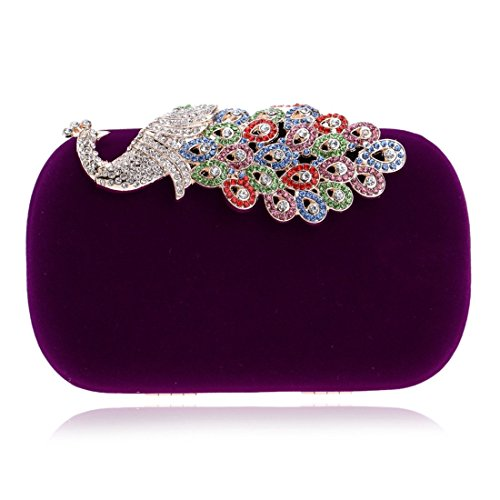 Blue Clutch KERVINFENDRIYUN Bag Purse Bag Color Evening Ladies Purple Fashion Banquet Diamond Peacock z88xwP