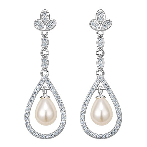 EVER FAITH 925 Sterling Silver CZ Freshwater Cultured Pearl Floral Chandelier Dangle Earrings Clear - Freshwater Pearl Chandelier Earrings