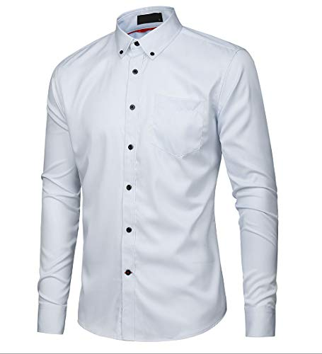 Musen Men Slim Fit Dress Shirt Casual Solid Elastic Button Down Long Sleeve Formal Shirt White M -