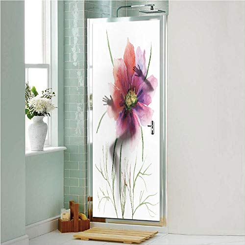 """Watercolor 3D No Glue Static Decorative Privacy Window Films, Beautiful Two Colored Flower Blossom Nature Spring Revival of Life Decorative,17.7""""x70.8"""",for Home & Office Decor,Fuschia Red Dark Green"""