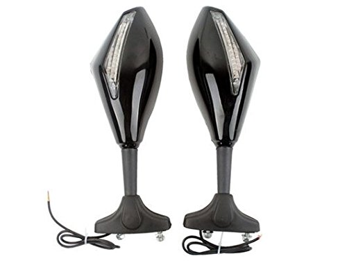 Mirror Aluminum Reflector Polished (2 X Motorcycle Motorbike Outside Rear View Left & Right Side View Mirrors Installed On Fairing Fit For 2008 2009 2010 2011 Szuki GSX650F)