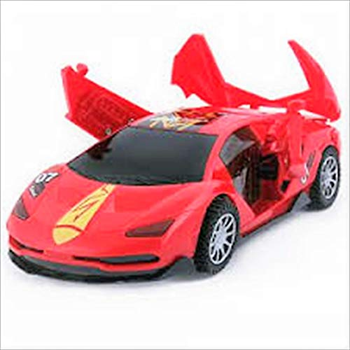 Rapidly Racing Hot Red Toy Car Style Sports Car for Kids Electronic Lights up Siren Spinning Bump and Go Action Doors Opens and Close Battery Operated
