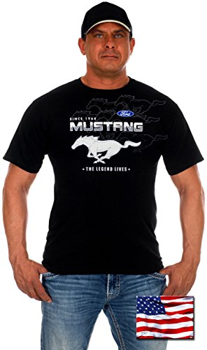 Mens Ford Mustang T-Shirts with Exclusive American Flag Sticker (2X, - Sun Coupon Ski Sports