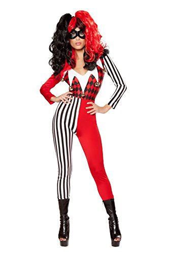 (Cyberteez Sexy 2pc Women's Playful Jester Babe Black/Red Harlequin Harley Quinn Costume)