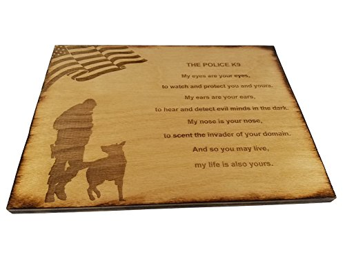 (Police Officer K9 Poem Wall decor with American Flag and Police K9 Silhouette - 8.5