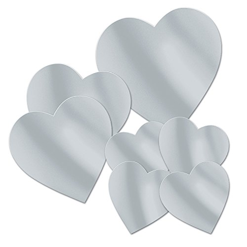 Beistle Packaged Foil Heart Assorted Cutouts, Silver, ()