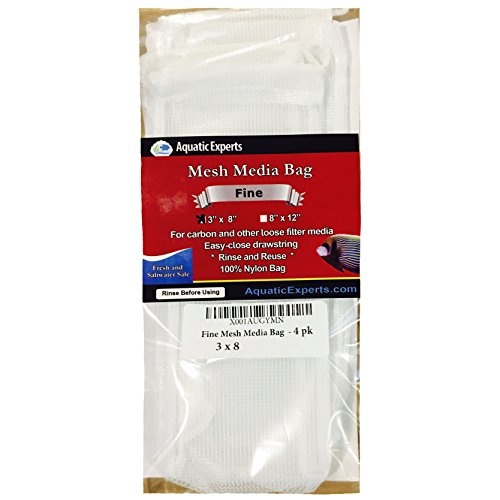 Fine Mesh Media Bags with Drawstring - 3 Inch by 8 inch - Reusable Aquarium Filter Bags (4 pack)