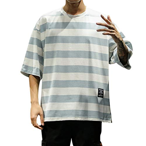 Price comparison product image Allywit-Mens Creative Short Sleeve T-Shirt White Striped 3D Print Casual Graphic Tees Tops Big and Tall