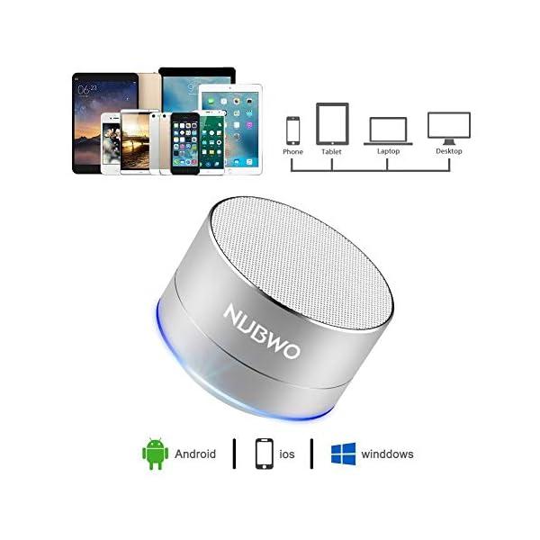 Enceinte Bluetooth, NUBWO A2 Enceinte Bluetooth Mini Portable de Voyage, Enceinte sans Fil avec des Basses Enforcées et des Appels en Mains Libres, Fonctionne avec iPhone, iPad, Samsung – Argent 3