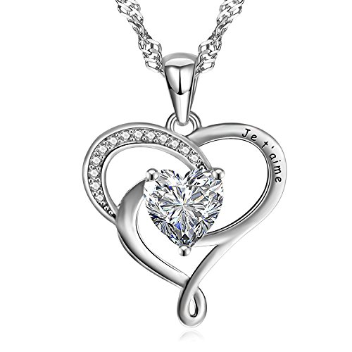 Wonvin Women Necklaces Heart Pendant with Cubic Zirconia, Silver Plated with Long Singapore Chain(18in+2in) White Je T'Aime