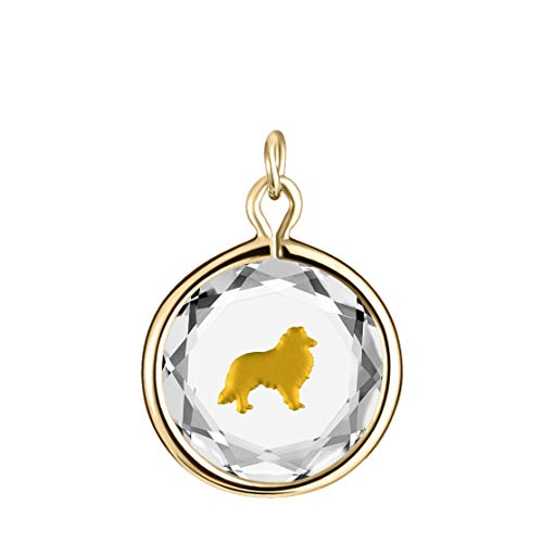 LovePendants Charm in White Swarovski Crystal with Gold Enameled Collie Engraving in 14k Gold-Plated Sterling Silver.