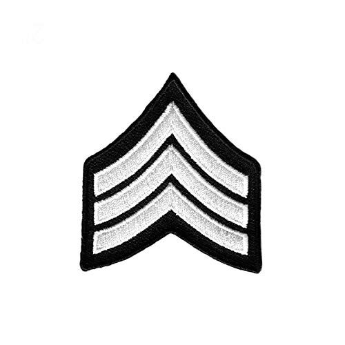 White Military Stripes Patch Rank Services Chevrons Embroidered Iron On ()