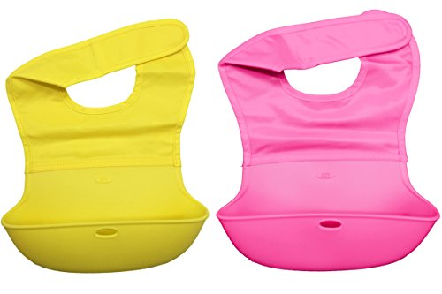 LUXEHOME Waterproof Silicone Baby Bibs, Easy Clean-up and Roll-up, Soft Food Catcher Feeder Bibs (Girl's style)
