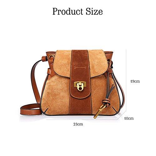 sac Saddle main Nubuck les cuir Bag en bandoulière sac cuir Yoome vachette à Vintage pour Sac Bleu femmes Lock de Bleu à en AFnOz