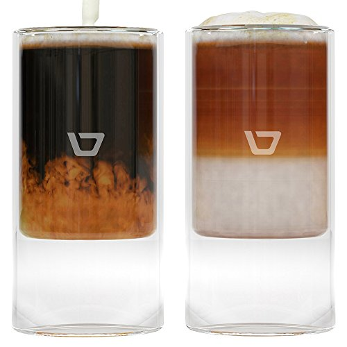 Glass Coffee Cups, Set of Four (4) 8.5ounce (250ml) Double Walled Thermo Insulated Mugs for Lattes