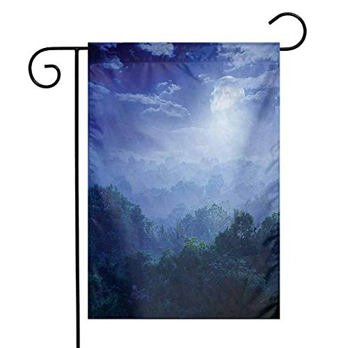 Decorative Garden Flag for Outdoor Fantasy Moonlight Covers The Jungles of Sri Lanka Hazy Rainforest Scenery View Image 12.5 x 18 Inch Green and Blue