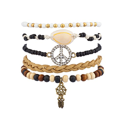 - Lux Accessories Pave Peace Sign Dreamcatcher Tribal Woven Beaded Arm Candy Bracelet Set