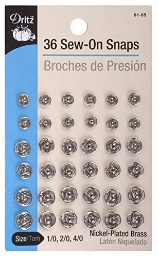 Dritz 81-65 Sew-On Snaps Size 1/0, 2/0 & 4/0 Nickel-Plated Brass 36 Count ()