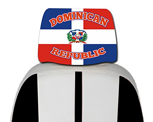 Dominican Republic Car Cover Seat Flag 2 pcs -With, free iphone 6s case or Head band design in your flag color logo.