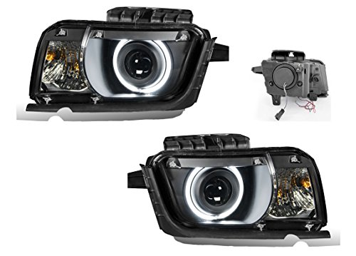 SPPC Black Projector Headlight Assembly Set with CCFL Halo Rings For Chevy Camaro Coupe - (Pair) Includes Driver and Passenger Side Replacement Headlamps Clear ()