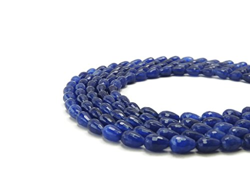 Navy Blue Jade Faceted Teardrop Gemstone Beads 12 x 8mm - Jewelry Making (8x12mm Bead)