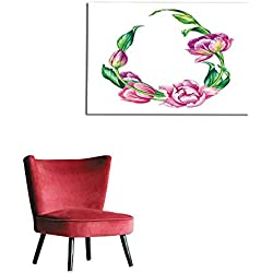 """homehot Painting Post Watercolor Botanical Illustration Pink Tulip Flowers Egg Shape Floral Frame on White Background Blank Banner Easter Greeting Card Poster Template Mural 36""""x32"""""""