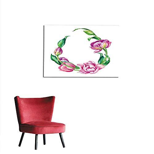 homehot Corridor/Indoor/Living Room Watercolor Botanical Illustration Pink Tulip Flowers Egg Shape Floral Frame on White Background Blank Banner Easter Greeting Card Poster Template Mural 28