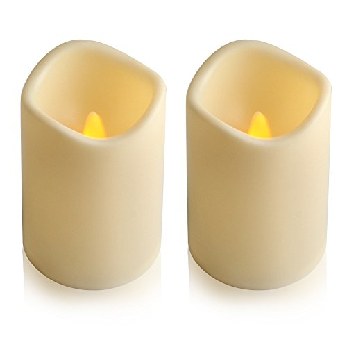 Decorate Unity Candles - ELEOPTION Indoor/Outdoor Flameless Resin Pillar led Candle with 6 Hour Timer (2)
