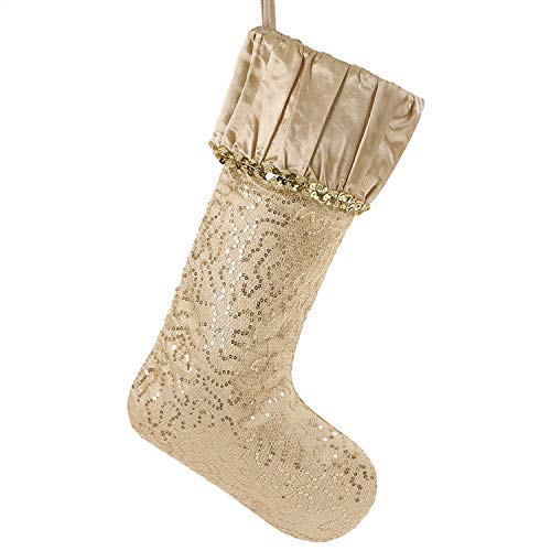 Valery Madelyn 21 inch Luxury Gold Christmas Stockings with Sequins and Ruffle Cuff, Themed with Tree Skirt (Not Included) (Teal Glitter Gold And)