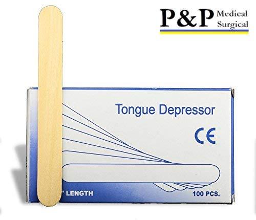 (Tongue Depressors Non Sterile Non Splinter Chemical Free Wooden 6 inch High Grade Natural Birch Box of 100)