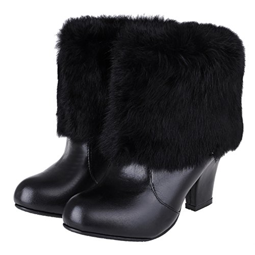 ENMAYER Womens Closed Round Toe Thick Heel Solid Boots With Real Rabbit Fur Black 9LBex