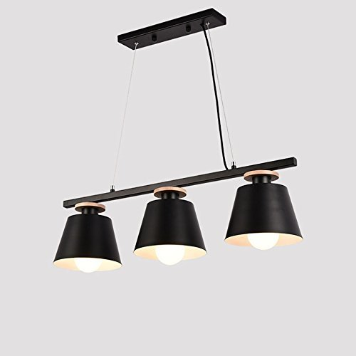 (XQY Household Chandelier, Crystal Palace Ceiling Lamp, Wrought Iron Wall Lamp Three Restaurant Chandeliers, Simple and Modern Study Bedroom Dining Table Lamp Wooden Lamps Nordic Chandeliers,Black)