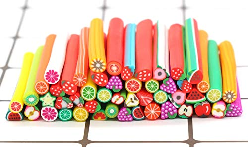 Cutdek Assorted Fruit Polymer Clay Canes Stick, Mixed Fake Food Fimo Canes, Nail Art Decoration (10) by Cutdek