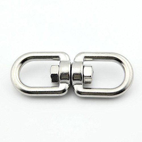 Yasorn Stainless Steel Eye to Eye Swivel Marine Mooring Chain swivels M6 (Crosby Swivel Hoist Ring)