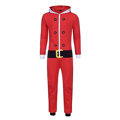 Bangerdei Men's Holiday Christmas Tree Sweater Zip Up Jumpsuit Santa Claus Romper Adult Hooded Onesie Non Footed Pajamas Red -