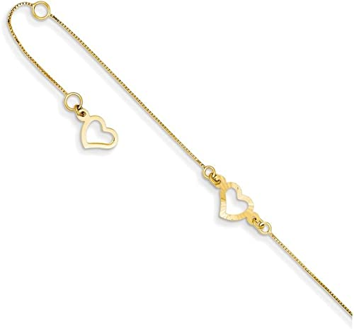 14k Three Tone Gold 9in Adjustable Puffed Heart Anklet w// 1inch extender