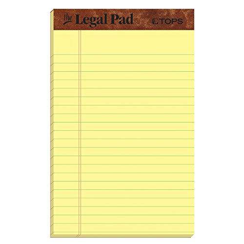 TOPS The Legal Pad Legal Pad, Perforated, Canar, 12 Pads/Pack
