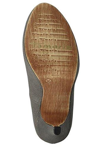 Plataforma Tamaris Bombas de imitación de piel de serpiente de cuero repujado óptica 1-22437-33 237 gris Grau