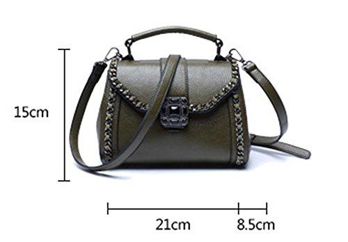 Bolsos de señora Xinmaoyuan lichi Pattern Retro portátil Bolsa Bolso de Hombro, gris Green