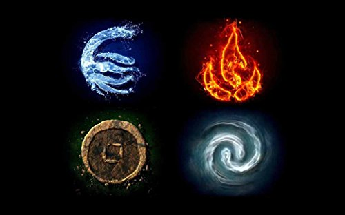 Water Fire Earth Avatar The Last Airbender Air Symbols The Elements Tv Movie Film Poster Fabric Silk Poster Print B0129-34 51x32 inch