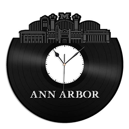 VinylShopUS - Ann Arbor MI Vinyl Wall Clock City Skyline Unique Gift Office Home | Bedroom Anniversary Decoration