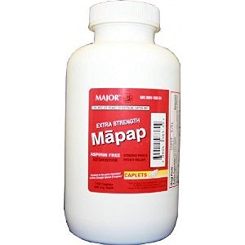 Mapap Caplets, Extra Strength 500mg, 1000 Count Per Bottle (3 Bottles) -  MAJOR PHARMACEUTICALS