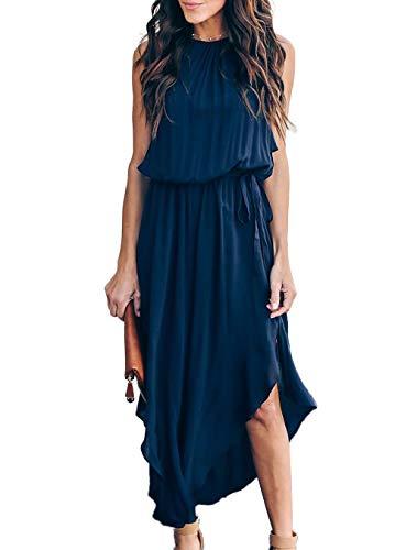 Mlebr Womens Ladies Loose Summer Fashion 2019 Casual Chiffon Halter Sleeveless Solid Slit Midi Flowy Dresses Blue Small ()