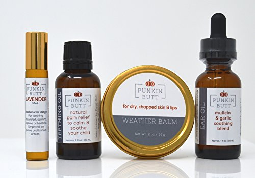 41Z%2BtKKDN%2BL - Baby Comfort Pack by Punkin Butt- Teething Oil bundled with Ear Oil, Lavender Soothing Oil, and Weather Balm